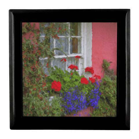 Jewelry Box - Irish Cottage Windowbox at Bunratty, County Clare Jewelry Box teelaunch Ebony Black