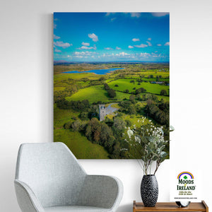 Canvas Wrap - Medieval Dysert O'Dea Castle and Ballycullinan Lough, County Clare - James A. Truett - Moods of Ireland - Irish Art