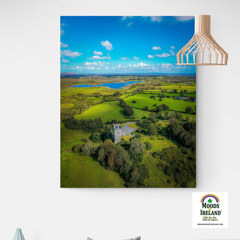 Image of Canvas Wrap - Medieval Dysert O'Dea Castle and Ballycullinan Lough, County Clare - James A. Truett - Moods of Ireland - Irish Art