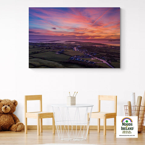 Image of Canvas Wrap - Autumn Dawn over Kildysart, County Clare - James A. Truett - Moods of Ireland - Irish Art