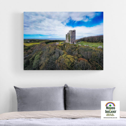 Canvas Wrap - Ballinalacken Castle Vista of Atlantic Ocean, County Clare - James A. Truett - Moods of Ireland - Irish Art