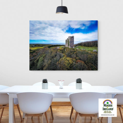 Image of Canvas Wrap - Ballinalacken Castle Vista of Atlantic Ocean, County Clare - James A. Truett - Moods of Ireland - Irish Art