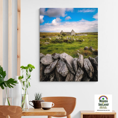 Image of Canvas Wrap - Ruins of Carran Church, in the Burren, County Clare - James A. Truett - Moods of Ireland - Irish Art