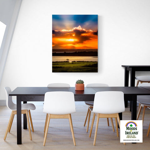 Image of Canvas Wrap - Glorious Shannon Estuary Sunrise, County Clare - James A. Truett - Moods of Ireland - Irish Art
