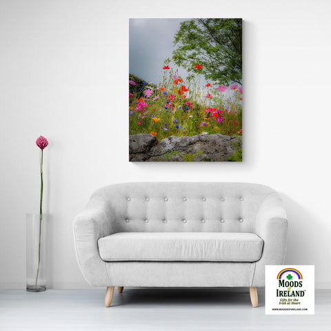 Image of Canvas Wrap - Wildflowers in Limestone Bed, County Clare - James A. Truett - Moods of Ireland - Irish Art