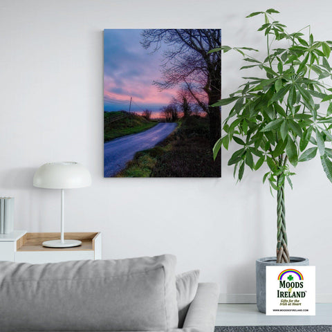 Image of Canvas Wrap - Soothing Pink Sunrise over County Clare Country Road - James A. Truett - Moods of Ireland - Irish Art