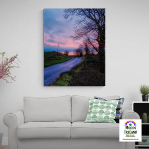 Canvas Wrap - Soothing Pink Sunrise over County Clare Country Road - James A. Truett - Moods of Ireland - Irish Art