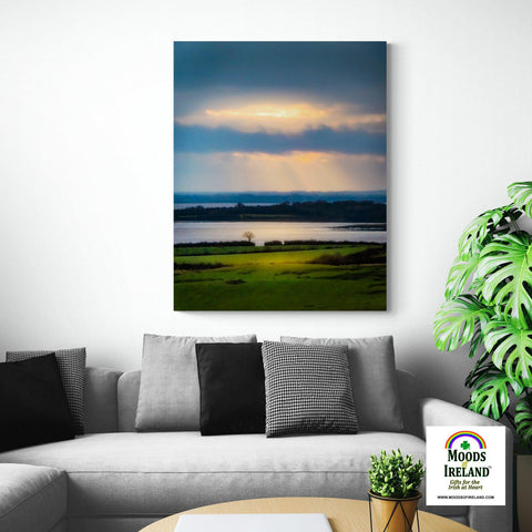 Image of Canvas Wrap - Morning Sun Rays over Shannon Estuary, County Clare Canvas Wrap Moods of Ireland