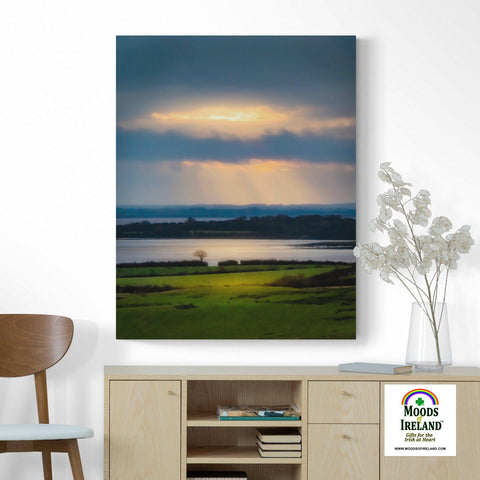 Image of Canvas Wrap - Morning Sun Rays over Shannon Estuary, County Clare - James A. Truett - Moods of Ireland - Irish Art