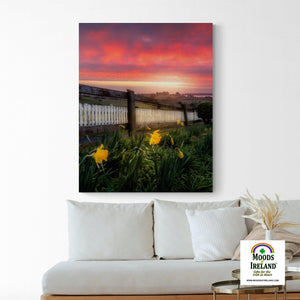 Canvas Wrap - Daffodils and Spring Sunrise, County Clare, Ireland - James A. Truett - Moods of Ireland - Irish Art