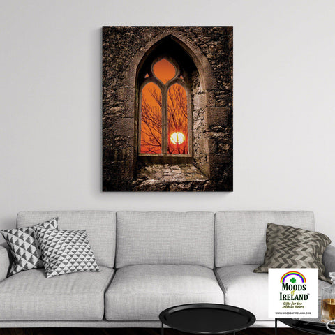 Image of Canvas Wrap - Clare Abbey Sunrise in County Clare - James A. Truett - Moods of Ireland - Irish Art