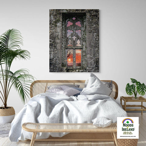 Image of Canvas Wrap - Clare Abbey Window at Sunrise, Ennis, County Clare - James A. Truett - Moods of Ireland - Irish Art