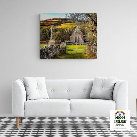 Canvas Wrap - 12th Century High Cross and Church Ruins in Ireland's County Clare - James A. Truett - Moods of Ireland - Irish Art