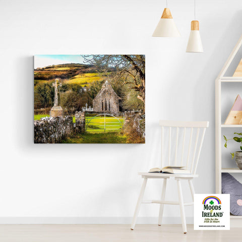 Image of Canvas Wrap - 12th Century High Cross and Church Ruins in Ireland's County Clare - James A. Truett - Moods of Ireland - Irish Art