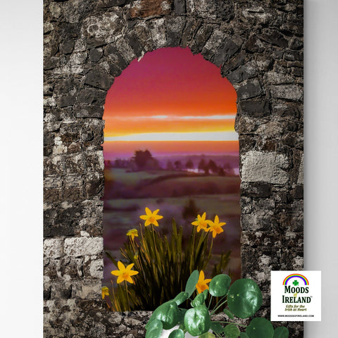 Canvas Wrap - Spring Daffodils and County Clare Sunrise - James A. Truett - Moods of Ireland - Irish Art