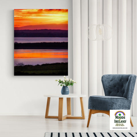 Image of Canvas Wrap - Firey Shannon Estuary Sunrise, County Clare, Ireland - James A. Truett - Moods of Ireland - Irish Art