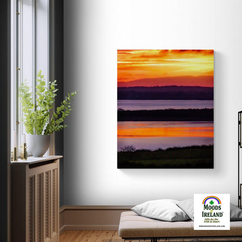 Canvas Wrap - Firey Shannon Estuary Sunrise, County Clare, Ireland Canvas Wrap Moods of Ireland