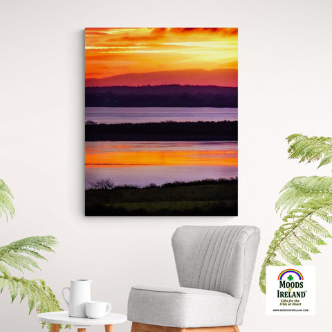Image of Canvas Wrap - Firey Shannon Estuary Sunrise, County Clare, Ireland Canvas Wrap Moods of Ireland