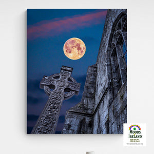 Canvas Wrap - Full Moon over Quin Abbey, County Clare - James A. Truett - Moods of Ireland - Irish Art