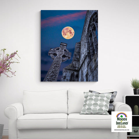 Image of Canvas Wrap - Full Moon over Quin Abbey, County Clare - James A. Truett - Moods of Ireland - Irish Art