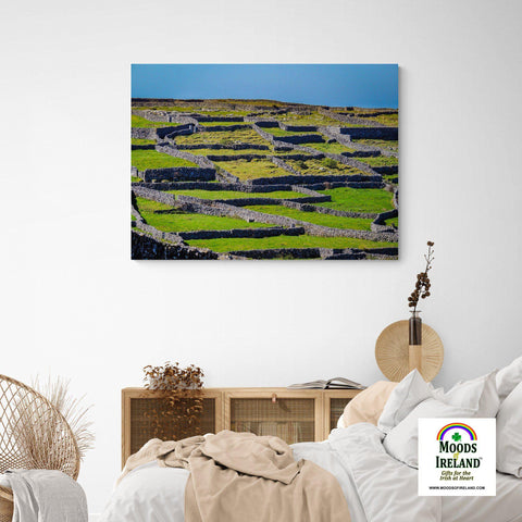 Image of Canvas Wrap - Criss-crossed Rock Walls of Inisheer, Aran Islands, County Galway - James A. Truett - Moods of Ireland - Irish Art