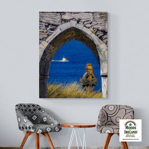 Canvas Wrap - Celtic Cross & Fishing Vessel from Isle of Inisheer, Aran Islands, County Galway Canvas Wrap Moods of Ireland