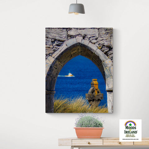 Image of Canvas Wrap - Celtic Cross & Fishing Vessel from Isle of Inisheer, Aran Islands, County Galway Canvas Wrap Moods of Ireland