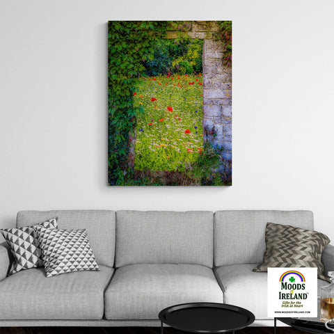 Image of Canvas Wrap - Magical Irish Wildflower Meadow in County Clare - James A. Truett - Moods of Ireland - Irish Art