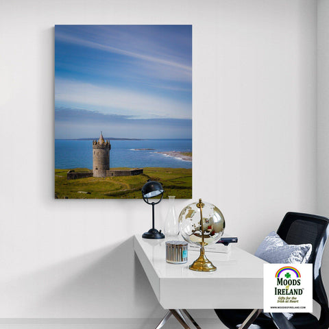 Image of Canvas Wrap - Doonagore Castle under Blue Skies, County Clare - James A. Truett - Moods of Ireland - Irish Art