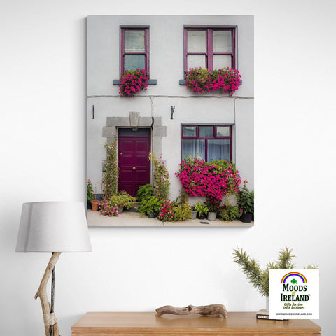 Image of Canvas Wrap - Flower Adorned Homefront in Kinvara, County Galway - James A. Truett - Moods of Ireland - Irish Art
