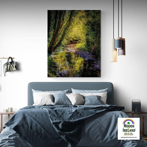 Canvas Wrap - Sunrays through Canopy over Owenslieve River, County Clare - James A. Truett - Moods of Ireland - Irish Art
