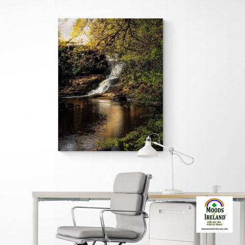 Canvas Wrap - Tranquil Bluebell Falls at Clondegad, County Clare - James A. Truett - Moods of Ireland - Irish Art
