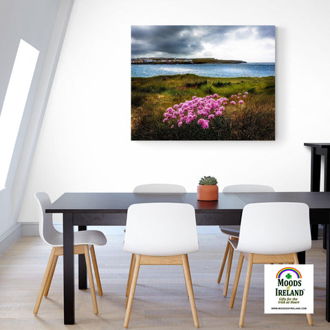 Image of Canvas Wrap - Sea Pinks on Kilkee Bay, County Clare - James A. Truett - Moods of Ireland - Irish Art