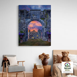 Canvas Wrap - Leamaneh Castle and Entrance Gate Reunited, County Clare - James A. Truett - Moods of Ireland - Irish Art