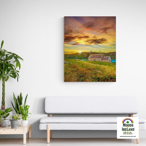 Image of Canvas Wrap - Church of St. Brendan the Navigator at Sunset, Crookhaven, County Cork - James A. Truett - Moods of Ireland - Irish Art