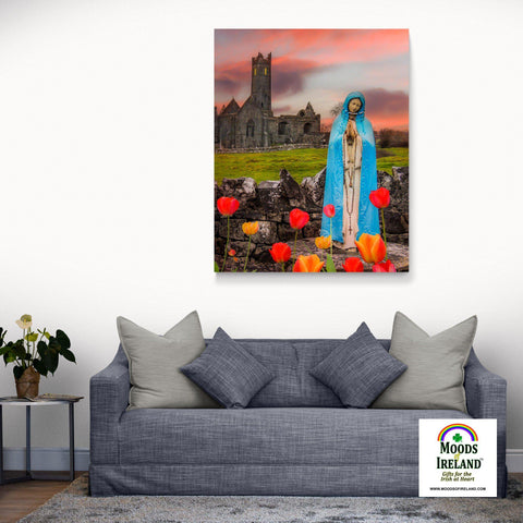 Image of Canvas Wrap - Holy Mother at Quin Abbey, County Clare - James A. Truett - Moods of Ireland - Irish Art