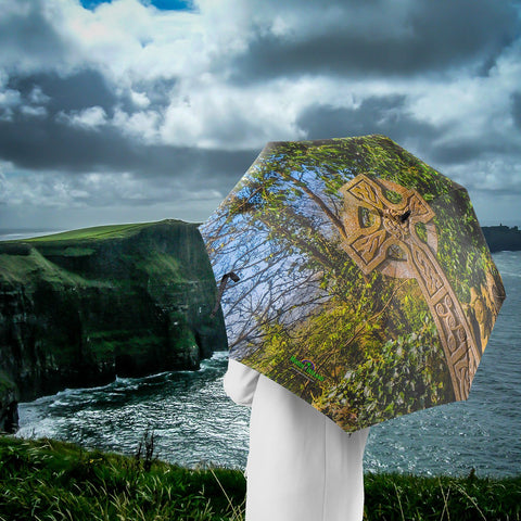 Image of Umbrellas - Celtic Cross at Dysart O'Dea, County Clare Umbrella Moods of Ireland