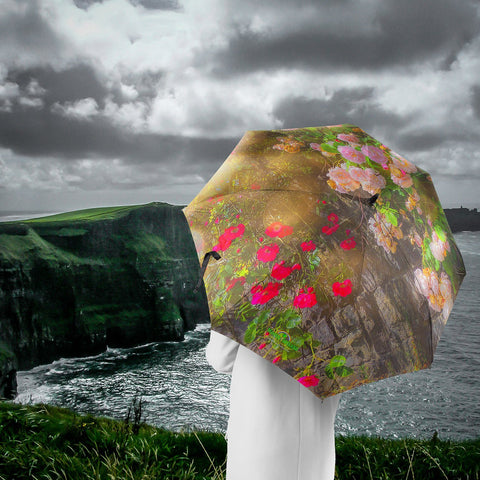 Umbrellas - Irish Roses over Stone Wall Umbrella Moods of Ireland
