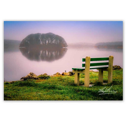 Image of Print - Bench at Lake Knockalough, County Clare - James A. Truett - Moods of Ireland - Irish Art