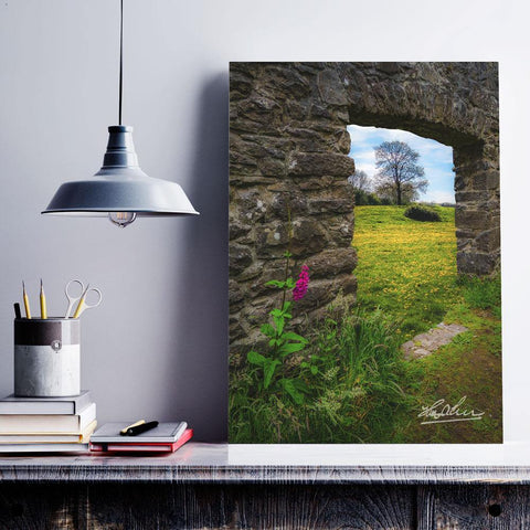 Image of Canvas Wrap - Foxglove and Dandelion Meadow, County Clare - James A. Truett - Moods of Ireland - Irish Art