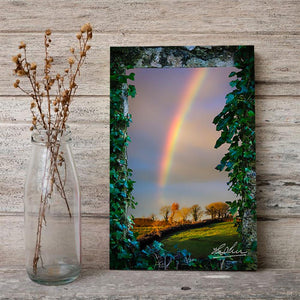 Canvas Wraps - Irish Rainbow over Farmland in County Clare, Ireland Canvas Wrap Moods of Ireland