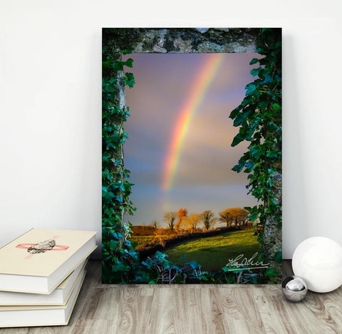 Image of Canvas Wraps - Irish Rainbow over Farmland in County Clare, Ireland Canvas Wrap Moods of Ireland