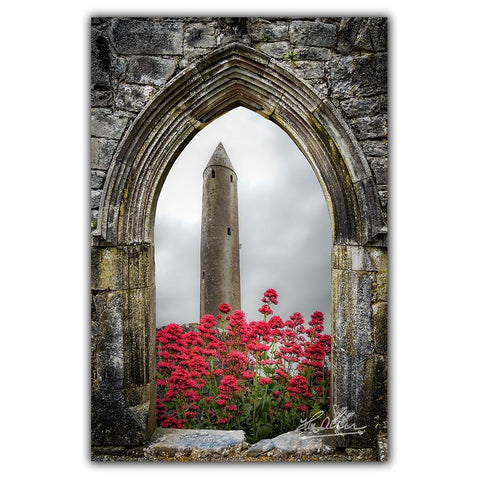 Image of Canvas Wraps - Kilmacduagh Round Tower in Summer, County Galway, Ireland Canvas Wrap Moods of Ireland