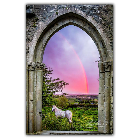 Image of Canvas Wraps - Medieval Arch with White Horse and Monochrome Rainbow, County Clare, Ireland Canvas Wrap Moods of Ireland