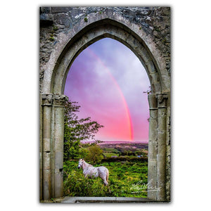 Canvas Wraps - Medieval Arch with White Horse and Monochrome Rainbow, County Clare, Ireland Canvas Wrap Moods of Ireland