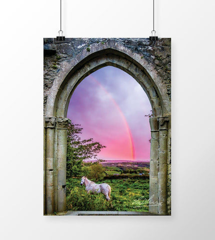 Print - Medieval Arch with White Horse and Monochrome Rainbow, County Clare - James A. Truett - Moods of Ireland - Irish Art