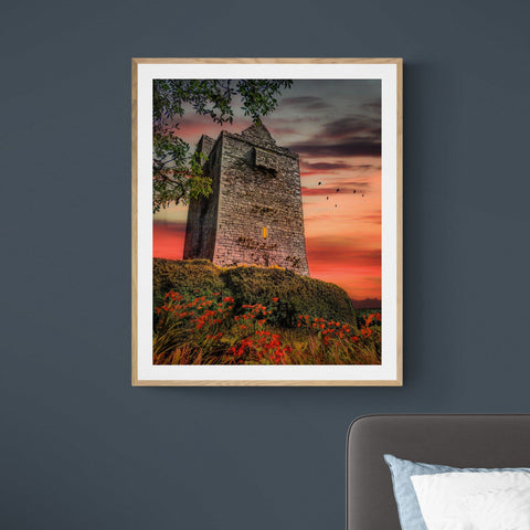 Image of Print - Ballinalacken Castle at Sunset, County Clare - James A. Truett - Moods of Ireland - Irish Art
