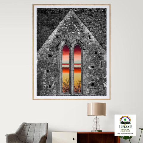 Image of Print - Medieval Cathedral Sunrise at Rock of Cashel, County Tipperary - James A. Truett - Moods of Ireland - Irish Art