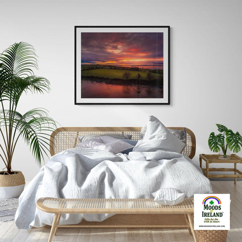 Print - Molten Sunrise over Inishcorker Island, County Clare Poster Print Moods of Ireland