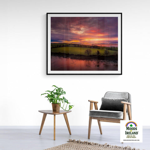 Image of Print - Molten Sunrise over Inishcorker Island, County Clare - James A. Truett - Moods of Ireland - Irish Art